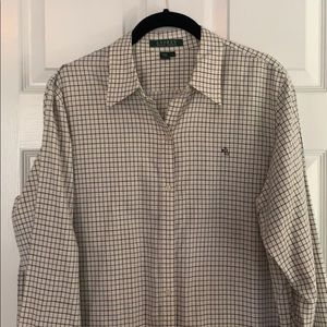Lauren by RL blue/brown check blouse